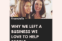 Why we left a business we loved, to help people be financially well.